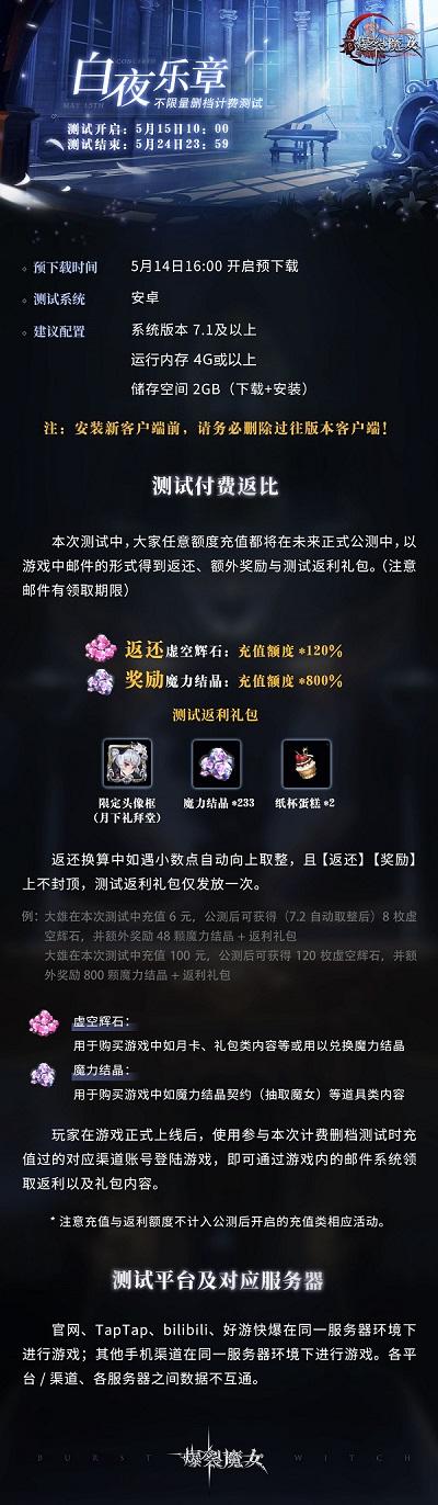 《爆裂魔女》手游5月15日不限量测试开启